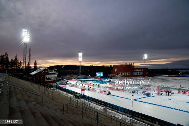 General view of Swedish National Biathlon Arena ahead of the Mens 20 km Individual Competition at the BMW IBU World Cup Biathlon Oestersund at...