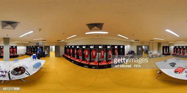 A general view of Switzerland dressing room before the 2014 FIFA World Cup Brazil Group E match between Honduras v Switzerland at Arena Amazonia on...