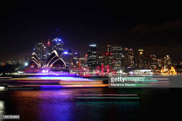 A general view of Sydney Harbour after the midnight fireworks session as Sydney Celebrates New Year's Eve with the theme of 'Time To Dream' on...