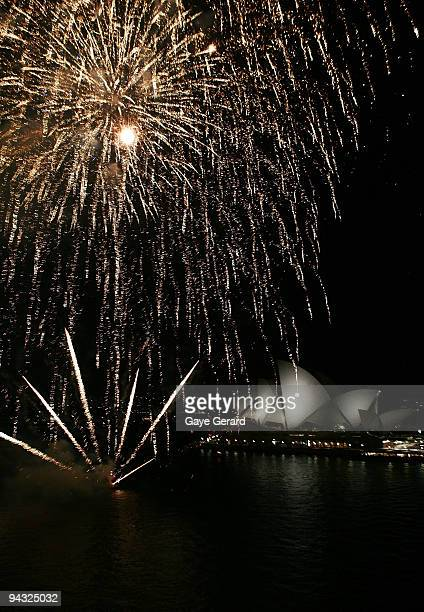 General view of Sydney Harbour as Fireworks light up the sky in celebration during the official launch of P&O's new superliner 'Pacific Jewel' at the...