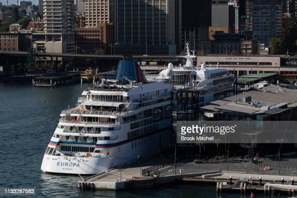 A general view of Sydney Harbour including the overseas passenger terminal on March 03 2019 in Sydney Australia The Clean Up Sydney Harbour event was...