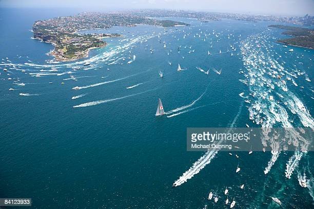 A general view of Sydney Harbour is seen as Wild Oats XI leads the fleet out during the start of the 64th Sydney Hobart Yacht Race on December 26...