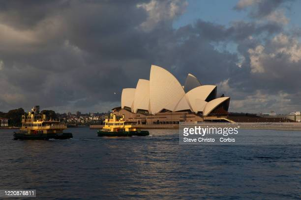 General view of Sydney harbour showing the Opera House on March 26, 2020 in Sydney, Australia. Further restrictions on travel and movement have been...