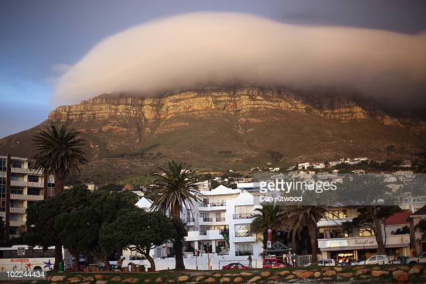 A general view of Table Mountain shrouded in mist from Camps Bay on June 19 2010 in Cape Town South Africa