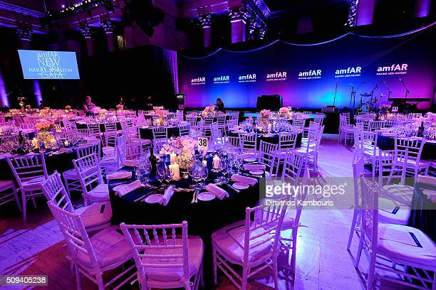 A general view of table settings at the 2016 amfAR New York Gala at Cipriani Wall Street on February 10 2016 in New York City