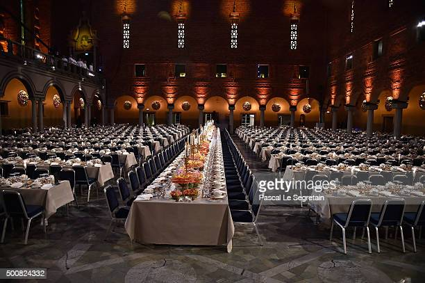 General view of tables during the Nobel Prize Banquet 2015 at City Hall on December 10 2015 in Stockholm Sweden