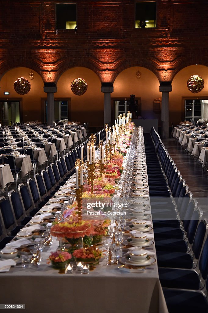 General view of tables during the Nobel Prize Banquet 2015 at City Hall on December 10, 2015 in Stockholm, Sweden.