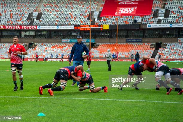 General view of Tafel Lager Griquas warm up during the Super Rugby Unlocked match between Toyota Cheetahs and Tafel Lager Griquas at Toyota Stadium...
