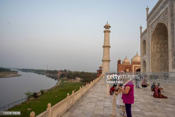 General view of Taj Mahal and Yamuna river on February 23 2020 in Agra India Authorities have made elaborate security arrangements in the city ahead...