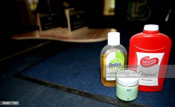 A general view of Talcum Powder Foot Cream and Dettol Antiseptic Liquid as used by compeititors