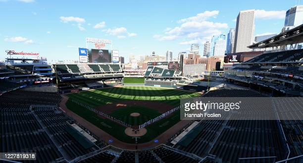 General view of Target Field as George Floyd is honored before the home opener between the Minnesota Twins and the St. Louis Cardinals on July 28,...