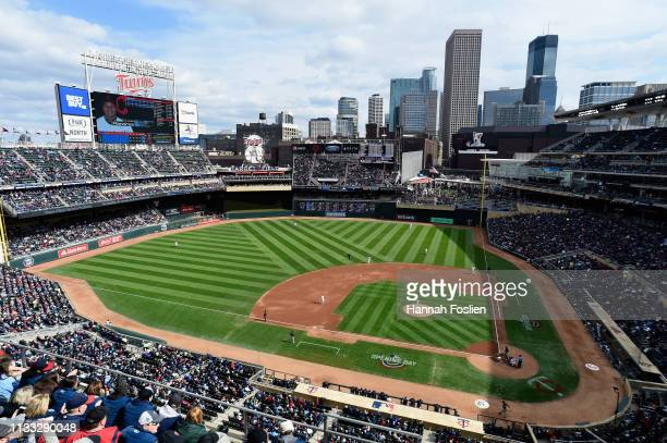 General view of Target Field during the first inning of the Opening Day game between the Minnesota Twins and the Cleveland Indians on March 28, 2019...