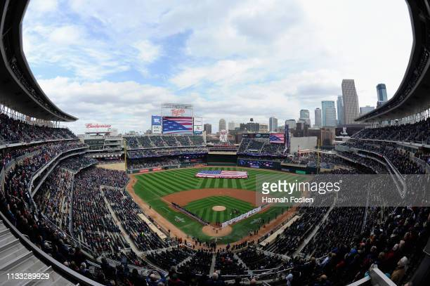 General view of Target Field during the National Anthem before the Opening Day game between the Minnesota Twins and the Cleveland Indians on March...
