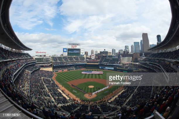 A general view of Target Field during the National Anthem before the Opening Day game between the Minnesota Twins and the Cleveland Indians on March...