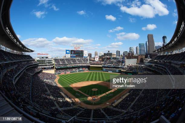 A general view of Target Field during the Opening Day game between the Minnesota Twins and the Cleveland Indians on March 28 2019 in Minneapolis...