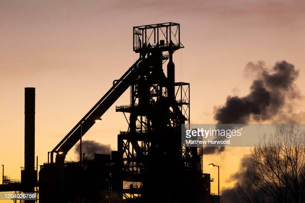 A general view of Tata Steel at sunset on January 21 2020 in Port Talbot United Kingdom