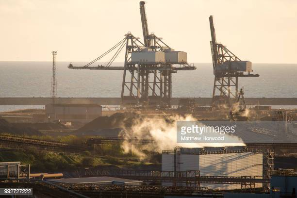 General view of Tata Steel steelworks on April 26, 2016 in Port Talbot, United Kingdom. Tata and ThyssenKrupp have announced plans to merge - the...
