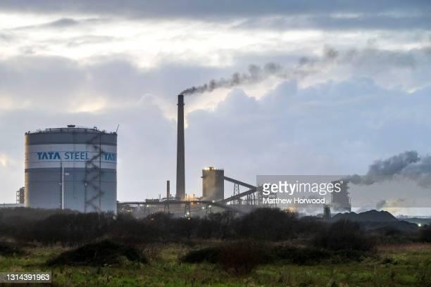 General view of Tata Steel steelworks on December 16, 2020 in Port Talbot, Wales.
