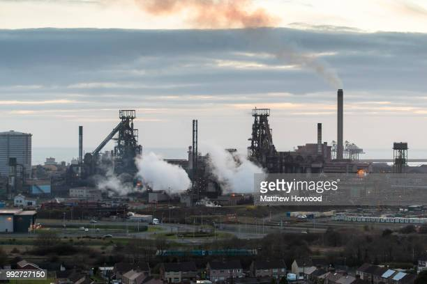 General view of Tata Steel steelworks on March 27, 2018 in Port Talbot, United Kingdom. Tata and ThyssenKrupp have announced plans to merge - the...