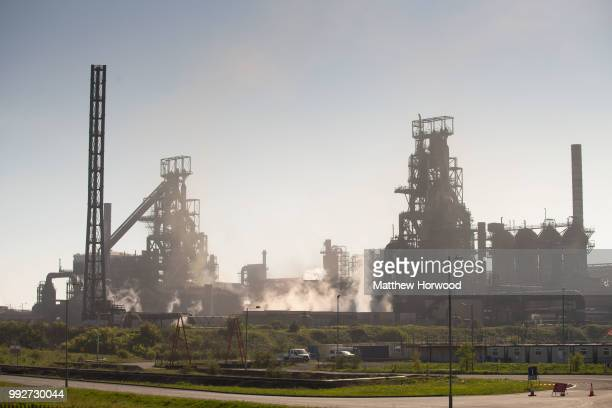 A general view of Tata Steel steelworks on May 06 2018 in Port Talbot United Kingdom Tata and ThyssenKrupp have announced plans to merge the industry...