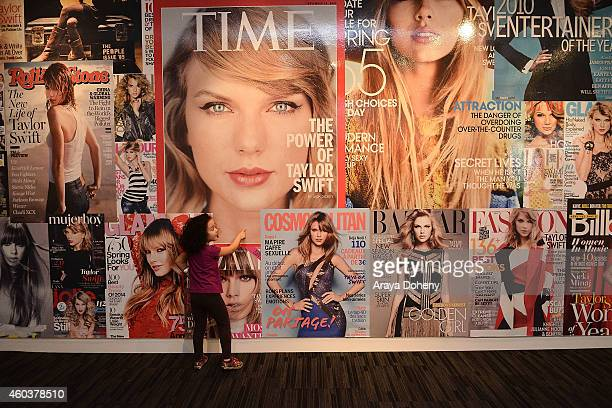 A general view of Taylor Swift memorabilia at the media preview day for The Taylor Swift Experience at The GRAMMY Museum on December 12 2014 in Los...