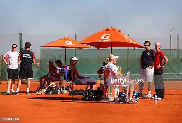 A general view of Team GB players and coaching staff in a practice session during previews ahead of the Fed Cup World Group Two PlayOffs between...
