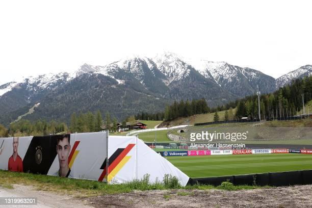 "General view of team Germanys training ground ""Fußballplatz Seefeld"" on May 24, 2021 in Seefeld in Tirol, Austria. The German National football team..."