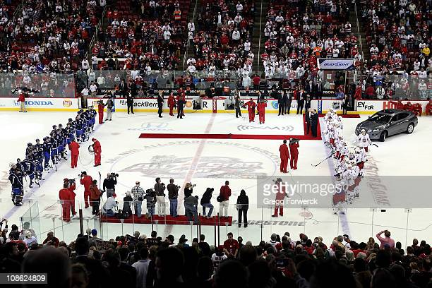 A general view of team Lidstrom and team Staal is seen on the ice after the 58th NHL AllStar Game at the RBC Center on January 30 2011 in Raleigh...