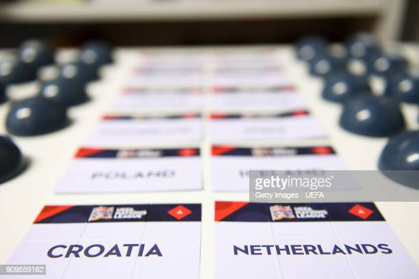 A general view of team names ahead of the UEFA Nations League Draw on January 24 2018 in Lausanne Switzerland