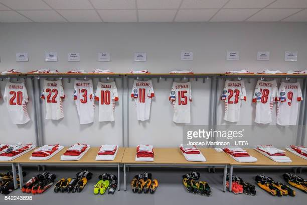 A general view of team Switzerland dressing room prior to the FIFA 2018 World Cup Qualifier between Latvia and Switzerland at Skonto Stadium on...