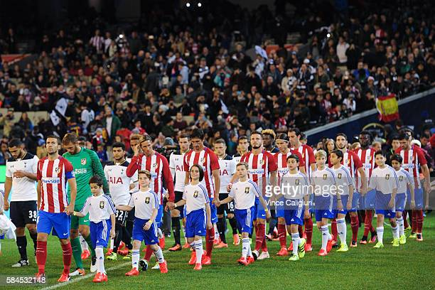 General view of teams walking onto the field during 2016 International Champions Cup Australia match between Tottenham Hotspur and Atletico de Madrid...