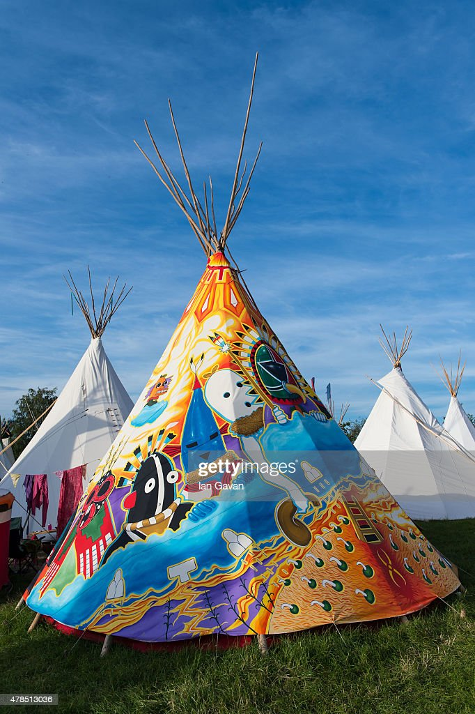 General View of teepee accommodation during Day 1 of the Glastonbury Festival at Worthy Farm & Glastonbury Festival 2015 - Accommodation Feature Photos and ...
