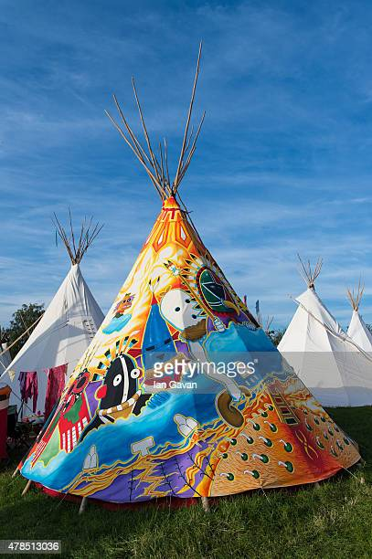 General View of teepee accommodation during Day 1 of the Glastonbury Festival at Worthy Farm, Pilton on June 25, 2015 in Glastonbury, England. Now...