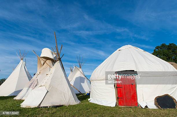 General View of teepee accommodation during Day 1 of the Glastonbury Festival at Worthy Farm Pilton on June 25 2015 in Glastonbury England Now its...