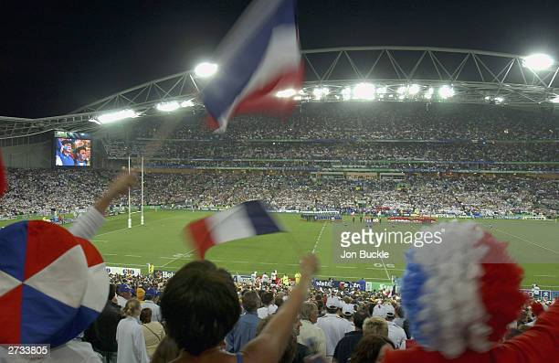 General view of Telstra Stadium as French fans enjoy their national anthem during the Rugby World Cup Semi-Final match between England and France at...