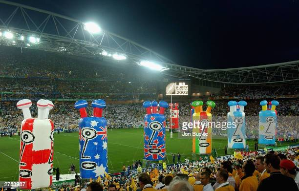 General view of Telstra Stadium as the closing ceremony takes place prior to Australia facing England during the Rugby World Cup Final match between...