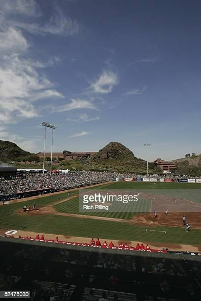 General View of Tempe Diablo Stadium the Spring Training home of the Los Angeles Angels of Anaheim on March 17 2005 in Tempe Arizona The Royals...