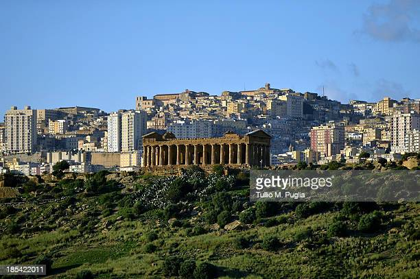 A general view of Temple of Concordia in the Valle dei Templi Park of Agrigento on October 20 2013 in Agrigento Italy Tomorrow a commemoration...