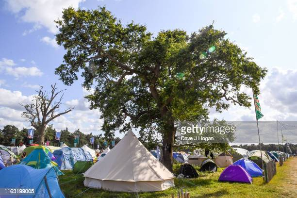General view of tents and teepees during Latitude Festival 2019 at Henham Park on July 20 2019 in Southwold England