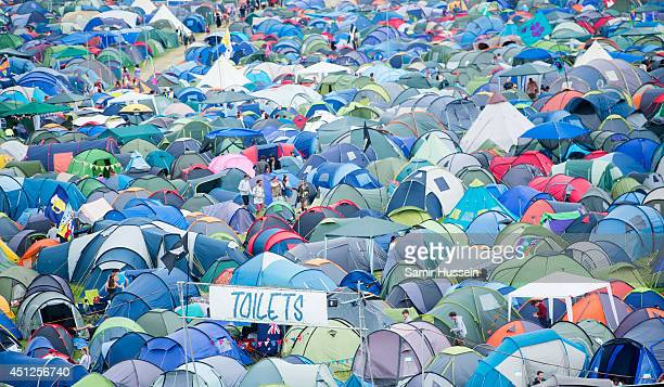 A general view of tents at Glastonbury Festival at Worthy Farm on June 25 2014 in Glastonbury England