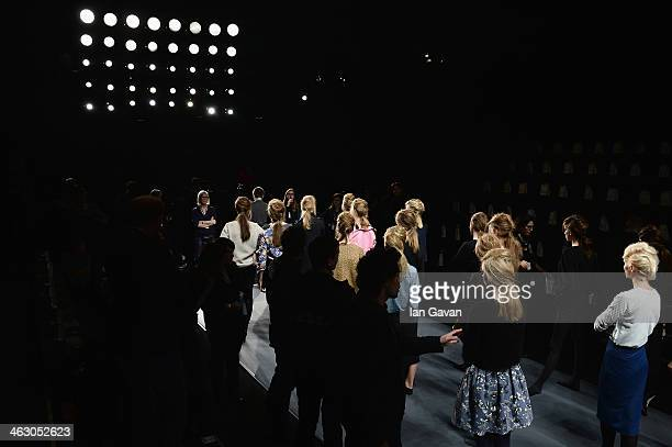 A general view of th backstage ahead of the Marc Cain show during MercedesBenz Fashion Week Autumn/Winter 2014/15 at Brandenburg Gate on January 16...