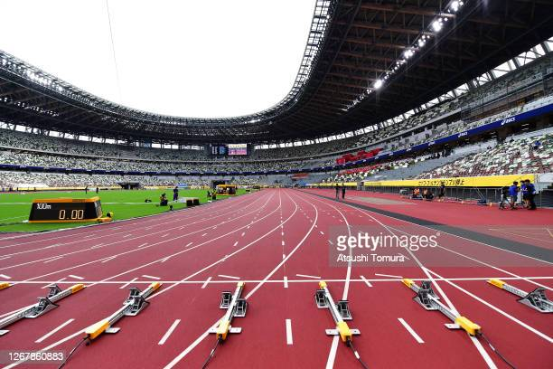 General view of the 100m start line during the Seiko Golden Grand Prix at the National Stadium on August 23, 2020 in Tokyo, Japan.
