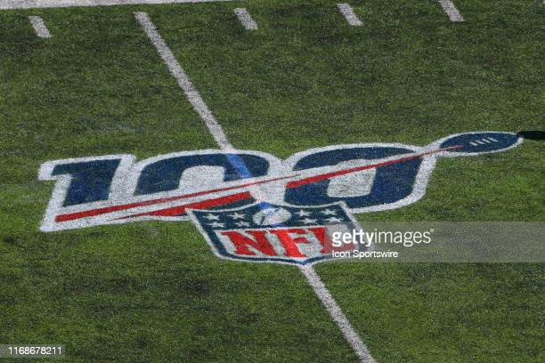 A general view of the 100th anniversary logo prior to the National Football League game between the New York Giants and Buffalo Bills on September 15...