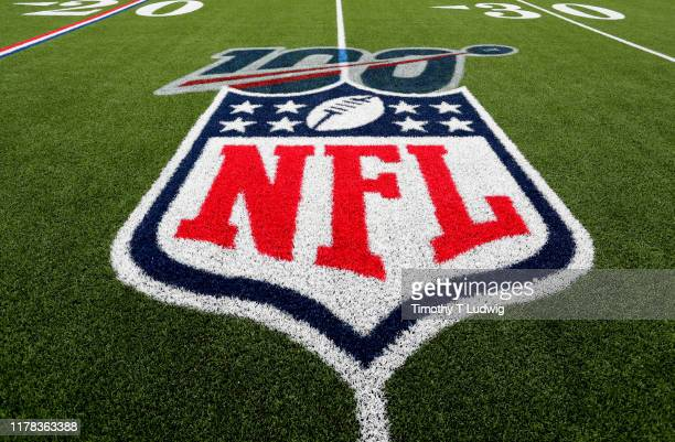 A general view of the 100th year NFL logo on the field before a game between the Buffalo Bills and the New England Patriots at New Era Field on...