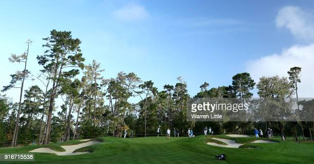A general view of the 10th green during Round Three of the ATT Pebble Beach ProAm at Spyglass Hill Golf Course on February 10 2018 in Pebble Beach...