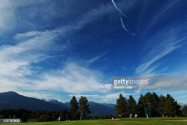 A general view of the 10th green during the first round of The Omega European Masters at CransSurSierre Golf Club on September 2 2010 in Crans...