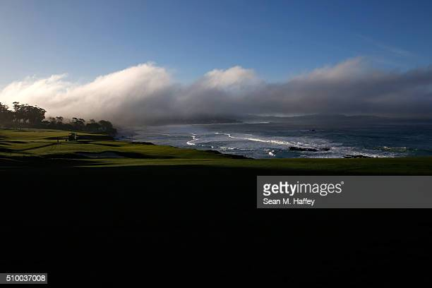A general view of the 10th hole during round three of the ATT Pebble Beach National ProAm at the Pebble Beach Golf Links on February 13 2016 in...
