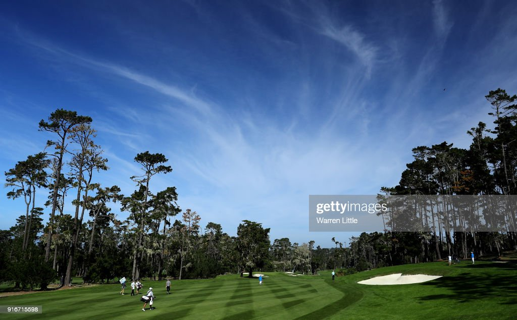 A general view of the 10th hole during Round Three of the AT&T Pebble Beach Pro-Am at Spyglass Hill Golf Course on February 10, 2018 in Pebble Beach, California.