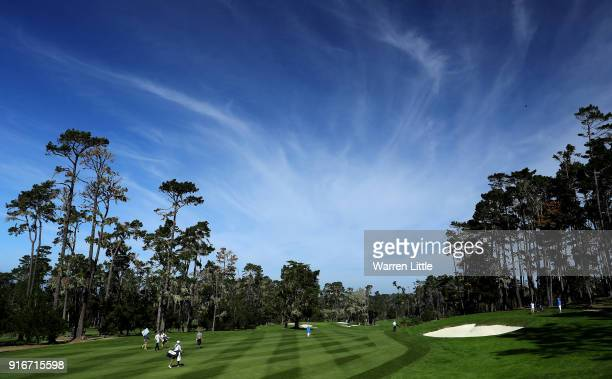 A general view of the 10th hole during Round Three of the ATT Pebble Beach ProAm at Spyglass Hill Golf Course on February 10 2018 in Pebble Beach...
