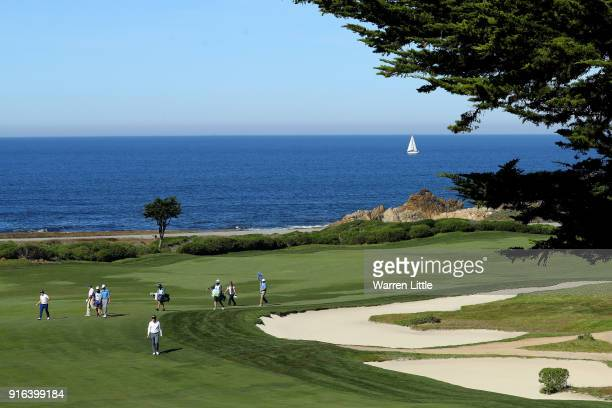 A general view of the 10th hole during Round Two of the ATT Pebble Beach ProAm at Monterey Peninsula Country Club on February 9 2018 in Pebble Beach...